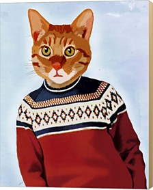 Cat In Ski Sweater By Fab Funky Canvas Art