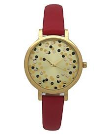 Olivia Pratt Women's Confetti Thin Leather Strap Watch