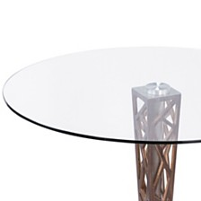 """Crystal 48"""" Round Dining table:  In Gray Walnut Veneer Column And Brushed Stainless Steel Finish With Clear Tempered Glass Top"""