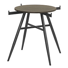 Davis Contemporary Round Dining table:  In Mineral Finish With Clear Tempered Glass Top