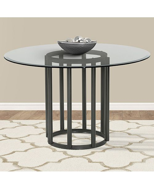 Denis Contemporary Round Metal Dining table: In Mineral Finish With Clear  Tempered Glass Top