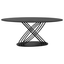 Glacier Contemporary Dining table:  In Grey Powder Coated Finish And Grey Stone Glass Top