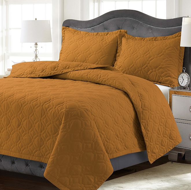 Tribeca Living Lyon Microfiber Solid Oversized King Quilt Set