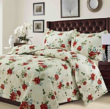 Lyon Microfiber Floral Printed Oversized Twin Quilt Set