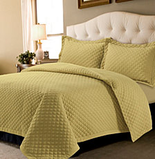 Brisbane Microfiber Solid Oversized Queen Quilt Set