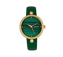 Bertha Quartz Frances Collection Gold And Green Leather Watch 37Mm