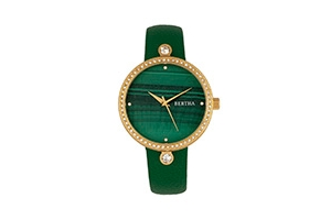 Quartz Frances Collection Gold And Green Leather Watch 37Mm