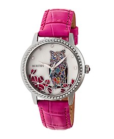 Bertha Quartz Madeline Collection Hot Pink Leather Watch 36Mm