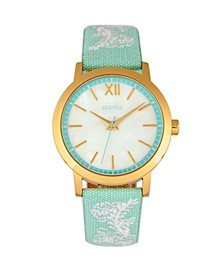 Quartz Penelope Collection Powder Blue And White Leather Watch 36Mm