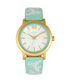 Bertha Quartz Penelope Collection Powder Blue And White Leather Watch 36Mm