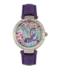 Quartz Mia Collection Purple Leather Watch 38Mm