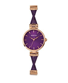 Quartz Amanda Collection Rose Gold And Purple Leather Watch 36Mm