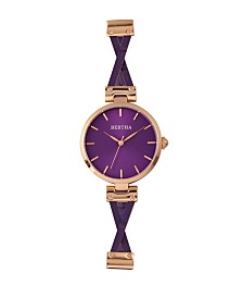 Bertha Quartz Amanda Collection Rose Gold And Purple Leather Watch 36Mm