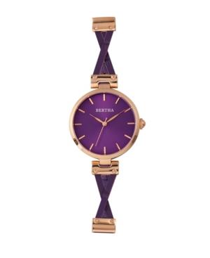 Bertha Quartz Amanda Collection Rose Gold And Purple Leather Watch 36Mm