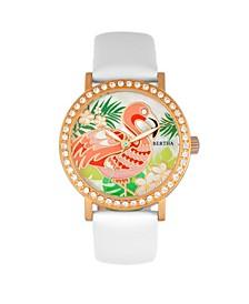 Quartz Luna Collection White Leather Watch 35Mm