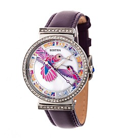 Bertha Quartz Emily Collection Silver And Purple Leather Watch 37Mm