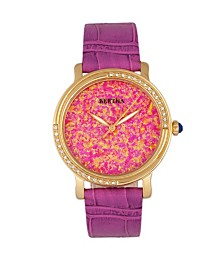 Bertha Quartz Courtney Collection Hot Pink Leather Watch 37Mm