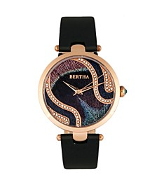 Quartz Trisha Collection Black Leather Watch 39Mm