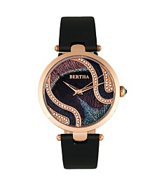 Bertha Quartz Trisha Collection Black Leather Watch 39Mm