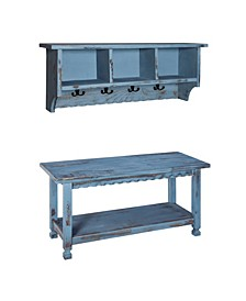 Country Cottage Coat Hooks and Bench Set,Blue Antique Finish