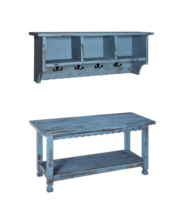 Alaterre Furniture Country Cottage Coat Hooks and Bench Set,Blue Antique Finish