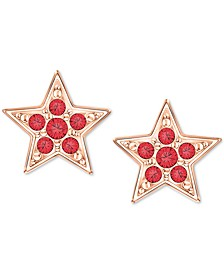 Rose Gold-Tone Crystal Star Stud Earrings