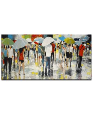 'Crowded Umbrellas' Abstract Canvas Wall Art, 18x36""