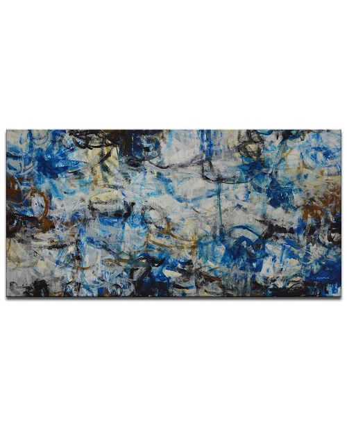 "Ready2HangArt 'Blue Bomb' Abstract Canvas Wall Art, 18x36"""