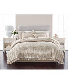 Martha Stewart Collection Seersucker Stripe 8-Pc. Oat Comforter Sets, Created for Macy's