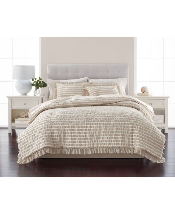 CLOSEOUT! Martha Stewart Collection Seersucker Stripe Oat 8-Pc. King Comforter Set, Tan/Beige, Size: KING