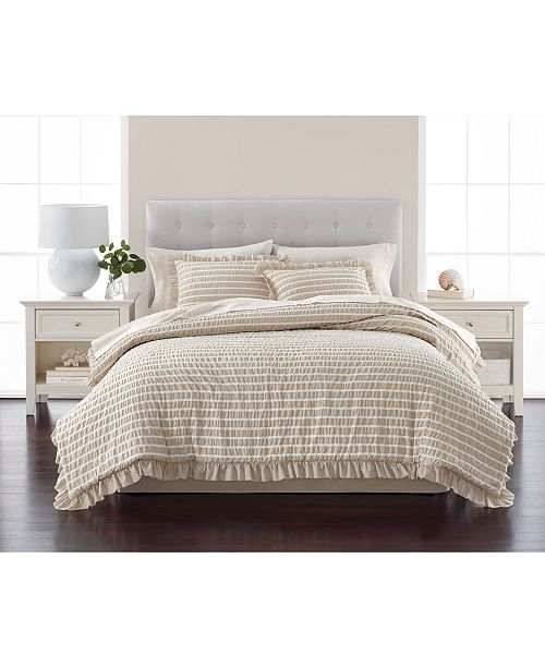 Martha Stewart Collection Seersucker Stripe 8-Pc. Oat Comforter Sets, Created for Macy's