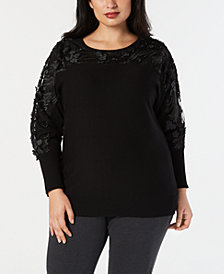 JM Collection Plus Size Embellished Mesh Sweater, Created for Macy's