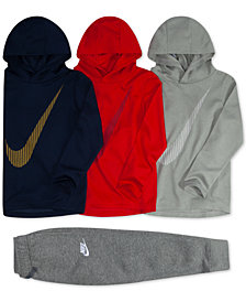 Nike Toddler Boys Swoosh-Print Hoodies & Fleece Jogger Pants