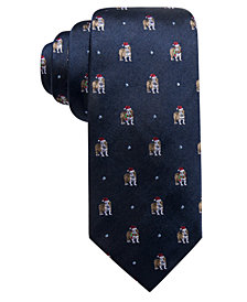 Club Room Men's Holiday Truck with Tree Stripe Silk Tie, Created for Macy's