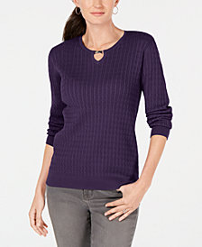 Karen Scott Cotton Keyhole Cable-Knit Sweater, Created for Macy's