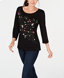 Karen Scott Cotton Holiday Lights Sequin Top, Created for Macy's