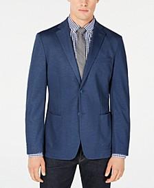Men's Slim-Fit Stretch Blue Solid Doubleface-Knit Sport Coat