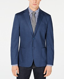 Calvin Klein Men's Slim-Fit Stretch Blue Solid Doubleface-Knit Sport Coat