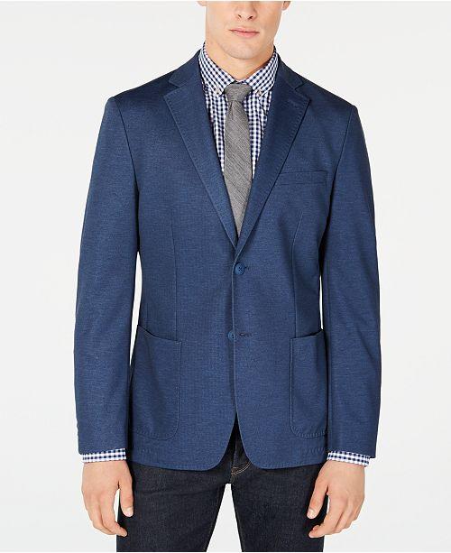 Calvin Klein Men's Slim-Fit Stretch Blue Solid Doubleface-Knit Sport Coat