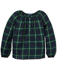 Polo Ralph Lauren Big Girls Tartan Plaid Cotton Top
