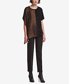 DKNY Mixed-Print Two-Tone Top, Created for Macy's