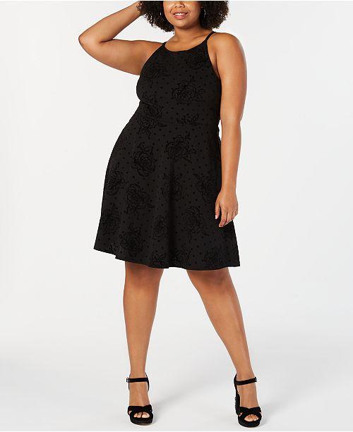 e675fbbb778 Soprano Trendy Plus Size Flocked-Velvet Fit   Flare Dress   Reviews ...