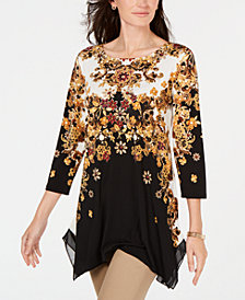 JM Collection Handkerchief-Hem Printed Tunic, Created for Macy's