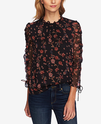 Printed Ruched Sleeve Blouse by Ce Ce