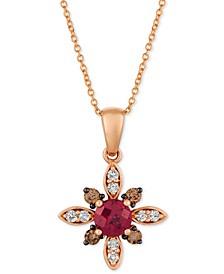 "Rhodolite Garnet (5/8 ct. t.w.) & Diamond (1/4 ct. t.w.) 18"" Pendant Necklace in 14k Rose Gold"