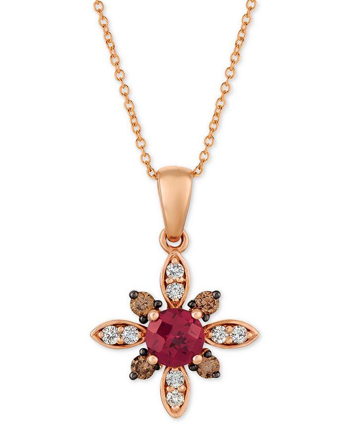 "Le Vian - Rhodolite Garnet (5/8 ct. t.w.) & Diamond (1/4 ct. t.w.) 18"" Pendant Necklace in 14k Rose Gold"