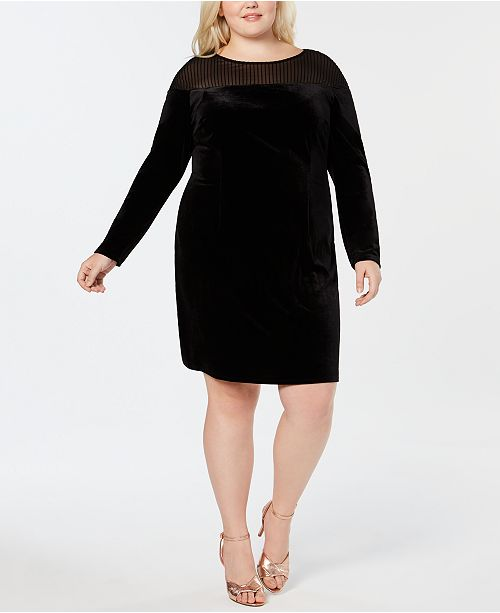 Love Squared Plus Size Velvet Illusion Sheath Dress ...