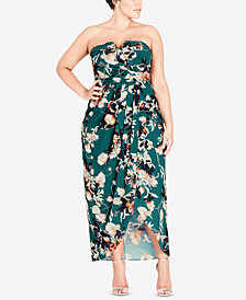 City Chic Trendy Plus Size Strapless Faux-Wrap Maxi Dress