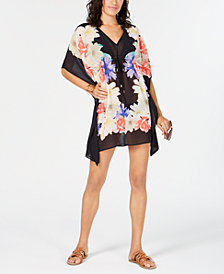 Calvin Klein Printed Floral Drawstring Caftan Cover-Up