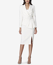 Tahari ASL Asymmetrical-Peplum Belted Skirt Suit